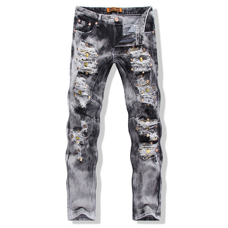 europen American style fashion brand Men s Casual Slim jeans luxury quality straight pop Denim trousers