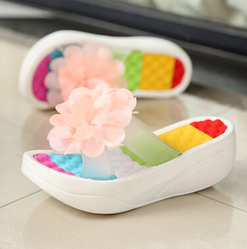 Women Slippers 2018 Summer Shoes Platform Flip Flops Platform Wedges Fitness Floral Lady's Sandals Shoes Woman ac63 casual wedges sandals 2017 summer beach women shoes platform flip flops print sandal comfort creepers shoes woman