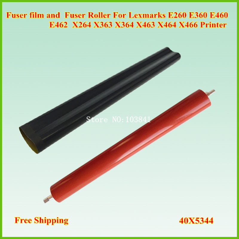 Fuser Film Sleeve + Lower Fuser Roller for Lexmark E260 E360 E460 E462 X264 X363 X364 X463 X464 X466 Fuser Pressure Roller chip for lexmark optra xs 658dme for lexmark x 658de for lexmark 0t65x replacement digital copier chips free shipping