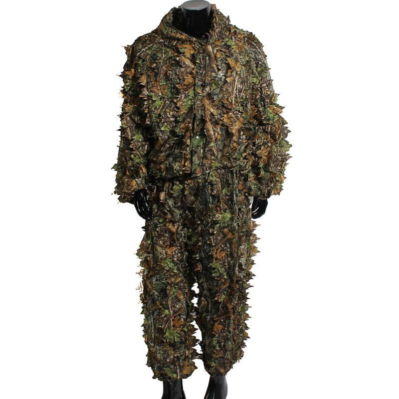2pcs/set Hunting Ghillie Suits Hunting Clothes Laser Stereo Version jacket and pants Set Latest 3D Maple Leaf Printed Linen