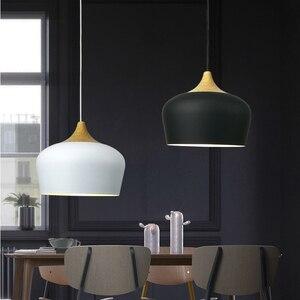 Image 4 - 現代の垂れ天井ランプ木材アルミ E27 イタリアペンダントライト、家のダイニングルームの装飾照明