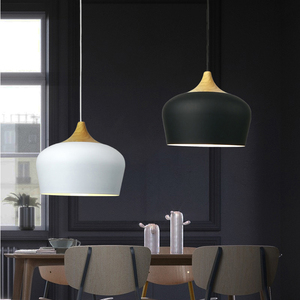 Image 4 - Modern hanging ceiling lamps  Wood aluminium E27 italian Pendant lights, House dining room decoration lighting
