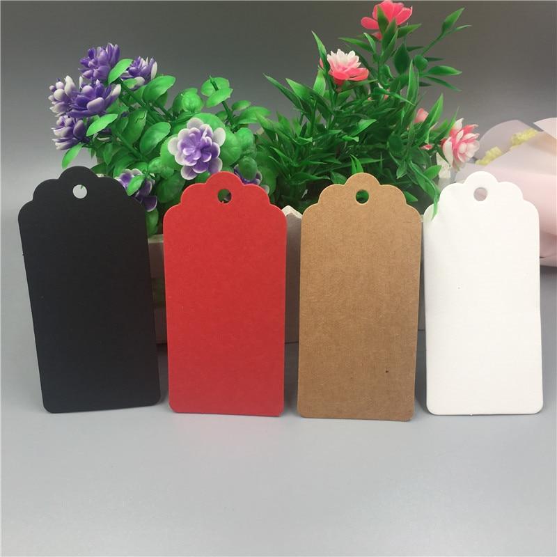 9.5x4.5cm Handmade Kraft Paper Cardboard Tags Jewelry Gift Box Note Mark Hang Tag Handmade Label Accept Custom Logo 50Pcs/Lot