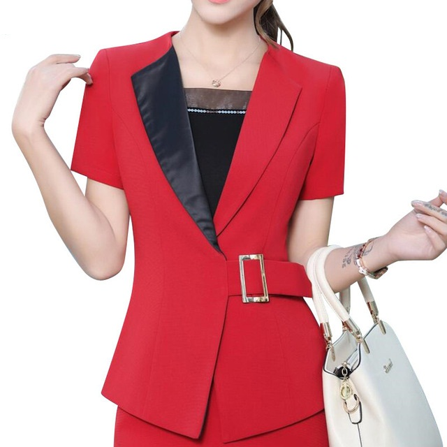 Summer fashion women blazer New Business formal short sleeve slim jackets office ladies plus size work wear coat gray black red