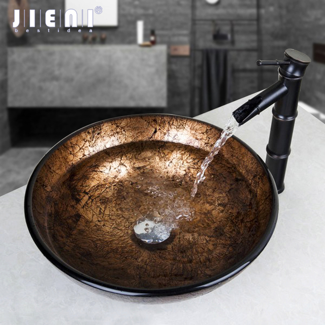Jieni Washbasin Round Glass Vessel Sink Faucet Glass Sink Set