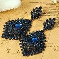 Mulheres Da Moda de luxo Do Vintage Brincos Exquisito Na Moda Brincos Grandes Declaração Colares Bijuterias Aretes Pendientes Brinco Azul