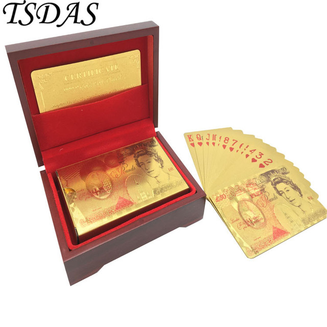 New Gold Cards Free Shipping British 50 Pound Foil Playing In Colors No
