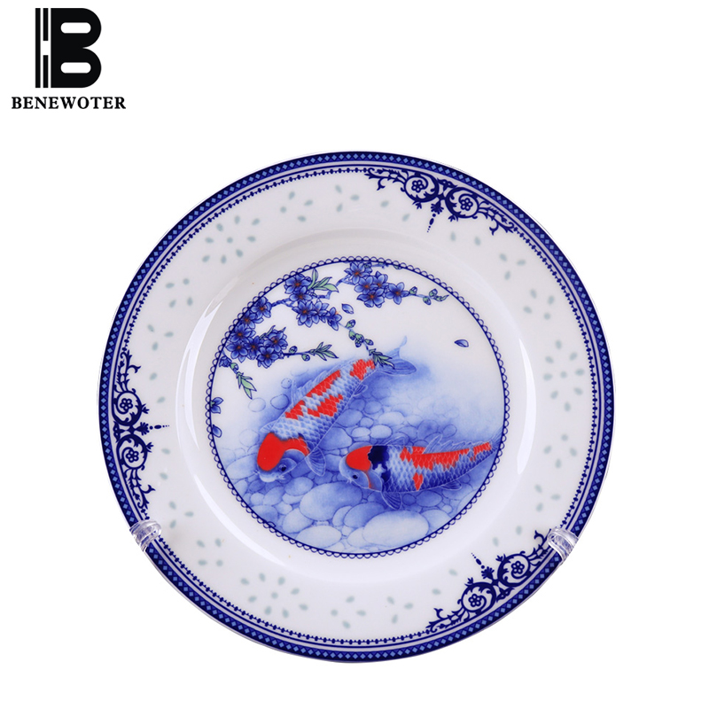 8/10 inch Jingdezhen Blue and White Porcelain Tableware Home Ceramic Dinner Plate Steak Spaghetti Dish Salad Fruit Plate Kitchen