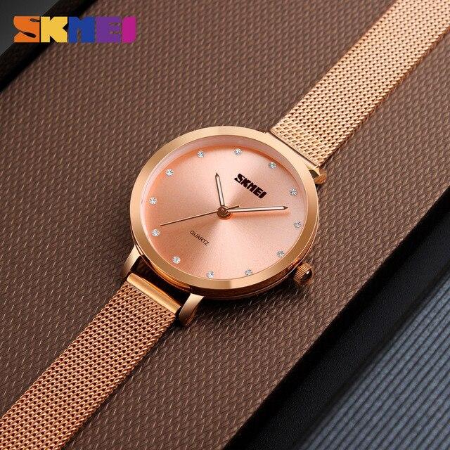SKMEI Fashion Women Watches Luxury Stainless Steel Strap Quartz Watch Ladies 3bar Waterproof Wristwatches Relogio Feminino 1291 4
