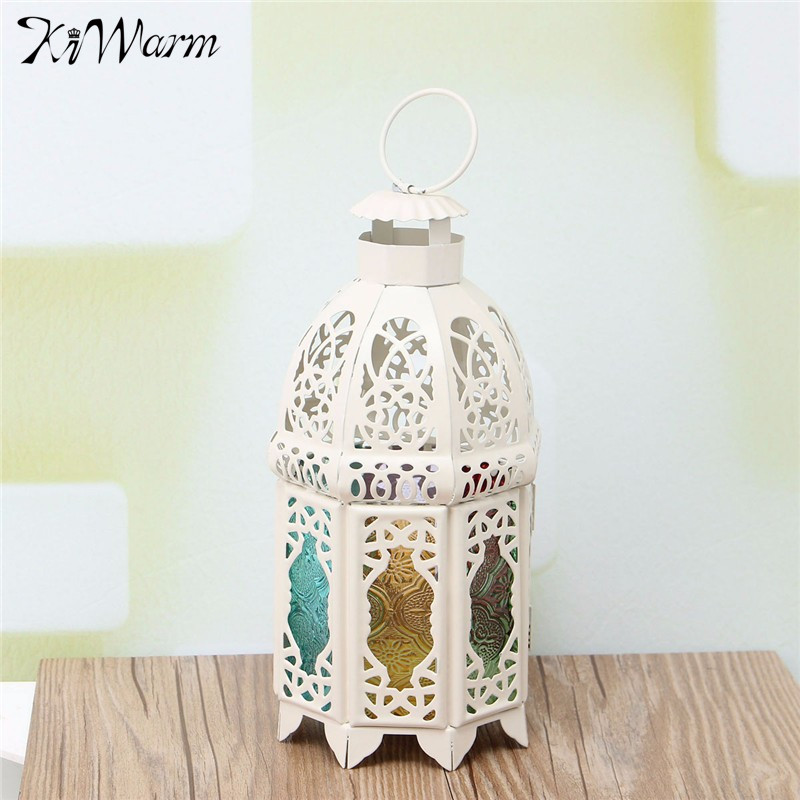 KiWarm Retro White Glass Iron Moroccan Garden House <font><b>Candle</b></font> Holder Hanging Lantern for Home Birthday Wedding Party Decor Gift