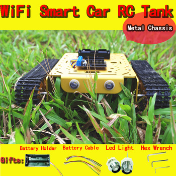 T200 WiFi Metal Robot Tank Car Chassis with NodeMCU Development Kit by Andoid APP Phone DIY RC Toy Remote Control Lua IoT