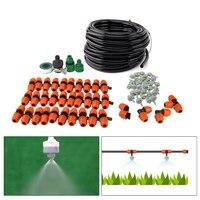 DIY 15 M Outdoor Patio Verneveling Cooling Systeem Home Tuin Sprinkler Micro Drip Irrigatie Met 30 stks Vernevelingskop groen 9/12 slang