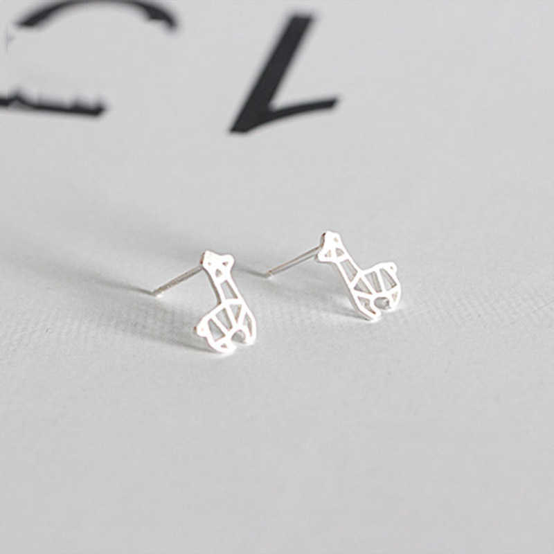 925 Sterling Silver Cute Animal Alpaca Personalized Stud Earrings For Women Girls Hollow Student S925 Matte Female Jewelry Gift