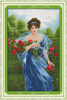 Charming roses Counted 11CT Printed 14CT DMC Cross Stitch Set DIY Chinese Cotton Cross stitch Kit Embroidery Needlework