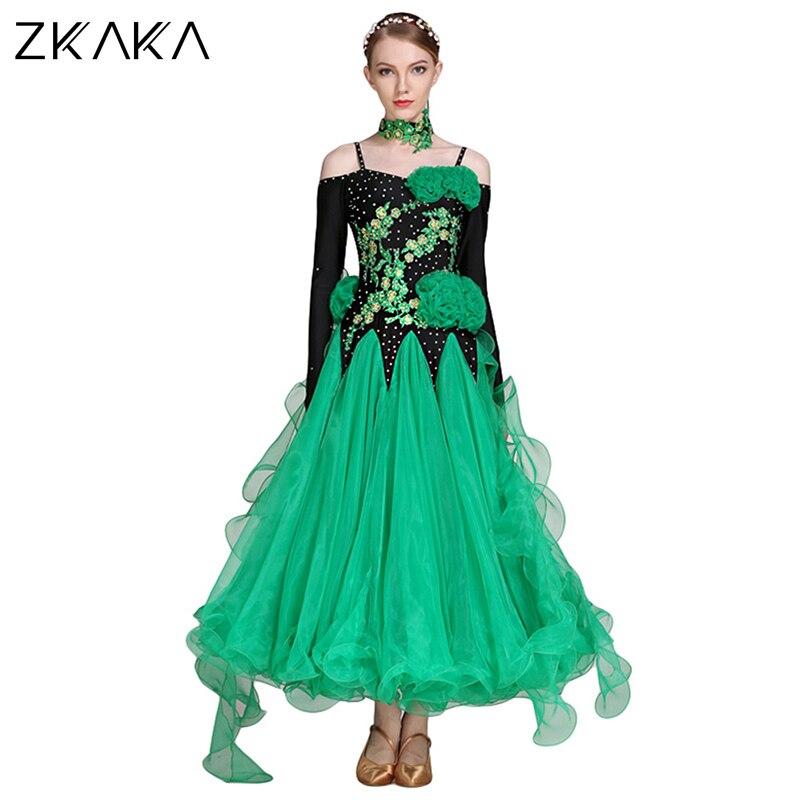 ZKAKA Round Neck Long Sleeves Performance Dress With Rhinestone And Velvet Design