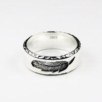 925 Sterling Silver Feather Ring Fine Jewelry