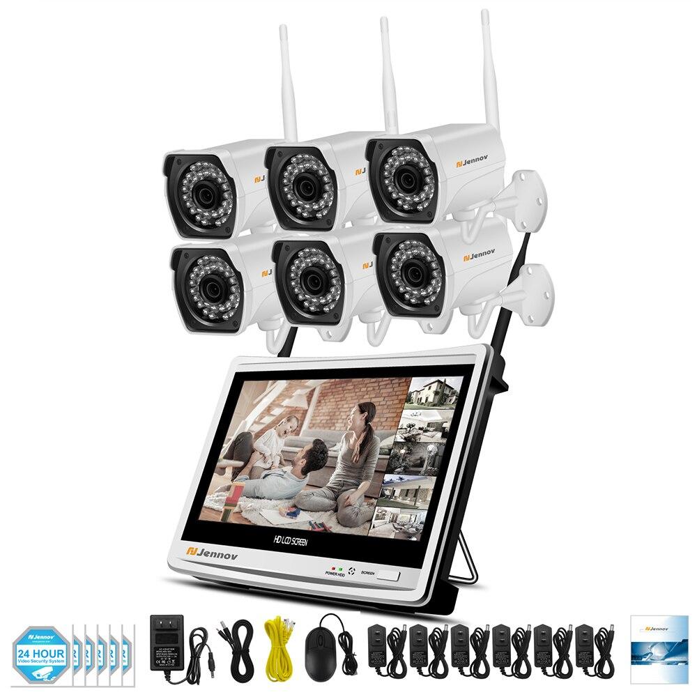 6CH 1080 P 2MP Беспроводной видеонаблюдения IP Камера Системы 12 дюймов ЖК-дисплей монитор Камара P2P Wi-Fi видеонаблюдения Наборы комплект с NVR