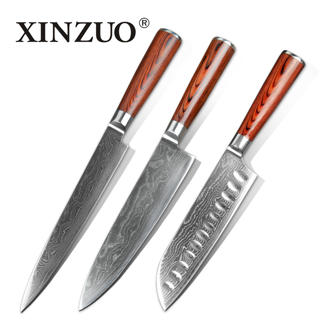 3 Pcs Kitche Knives Set Japanese 73 Layers Damascus Steel Kitchen Knife  Chef Cleaver Sashimi Knife