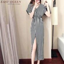 Roupas sociais AA3737 feminino vertical listrada de manga curta vestido de  verão um 724bf95857e