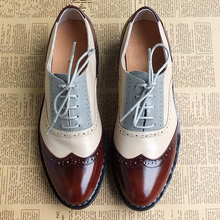 Men genuine leather brogues oxford flats shoes for mens brown handmade vintage casual sneakers leather flat shoes 2020