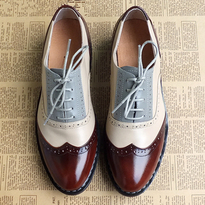 Image 1 - Men genuine leather brogues oxford flats shoes for mens brown handmade vintage casual sneakers leather flat shoes 2020