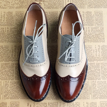 Men genuine leather brogues oxford flats shoes for mens brown handmade vintage casual sneakers leather flat shoes 2020 summer цена 2017