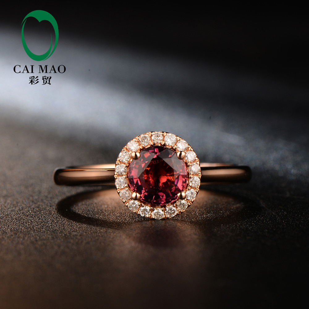 Free shipping Natural Pave Set Diamond 5mm Round Cut 0.81ct Red Tourmaline Engagement 18K Rose Gold Hot Sale Ring new pure au750 rose gold love ring lucky cute letter ring 1 13 1 23g hot sale