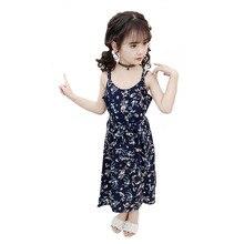 Girls Dress Summer 2019 Sling Floral Beach Dresses Children Clothing Sleeveless Chiffon Kids Clothes 4 6 8 10 12 13 Years