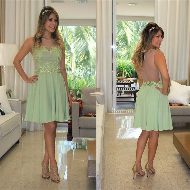 2020 voir à travers Sage Appliques en mousseline de soie a-ligne robes de Cocktail genou longueur robes de soirée mode ruché sans manches robe