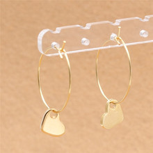 Real-golden Plated 316 Stainless Steel Brief Hoop Earrings With Heart Charms Jewelry