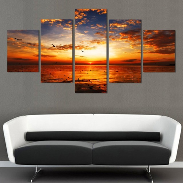 5 Pieces HD Painting Sunset Glow Tinted The Sky Red Bird Seascape For  Modern Decorative Bedroom