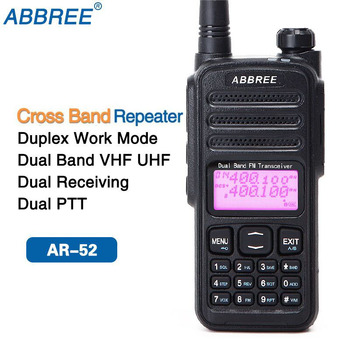 Abbree AR-52 크로스 밴드 리피터 듀플렉스 작업 모드 듀얼 밴드 듀얼 수신 2-ptt 워키 토키 햄 cb 라디오 양방향 라디오