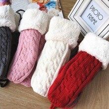 Женские зимние теплые вязаные перчатки из толстого кашемира и шерсти для взрослых, мягкие женские меховые варежки с длинной веревкой, Лидер продаж
