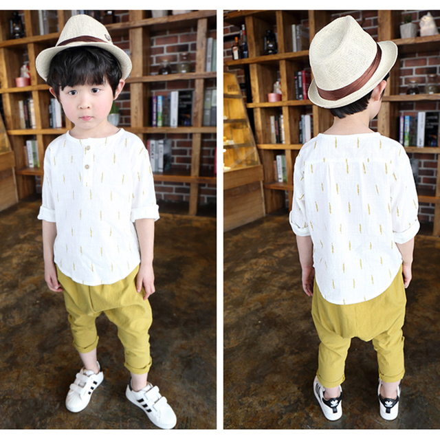 Sale Kids Clothes For Boys Clothing Set Cotton Linen Long Sleeve Shirt + Short Pants 2pcs Child Sports Suit Children Autumn 2016