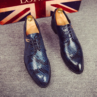 men footwear 2016 studs shoes luxury brand moccasins snake skin ballet flats glossy patent leather brogue oxford shoes for men