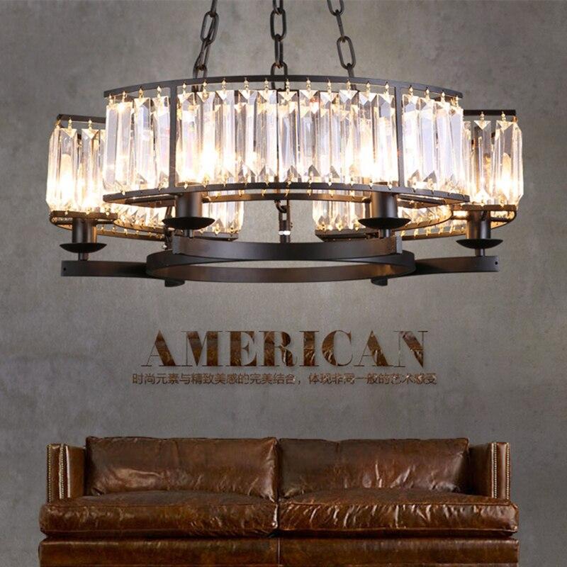 Vintage Glass Crystal Chandelier Light Fixture Black Cottage American Suspension Lamp Hanging Light For Dining Room WPL154