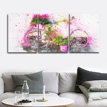 Laeacco Abstract Canvas Painting 3 Panel Watercolor Bike Pink Flower Wall Artwork Posters Prints Pictures Home Living Room Decor