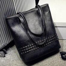 Women Top handle Bags Rivet Tote Bag Retro Bolsos High Quality Bolsas Femininas Handbag Female Shoulder
