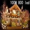 New 100 Meter 800 LED Christmas Lights 8 Modes For Seasonal Decorative Christmas Holiday Wedding Parties