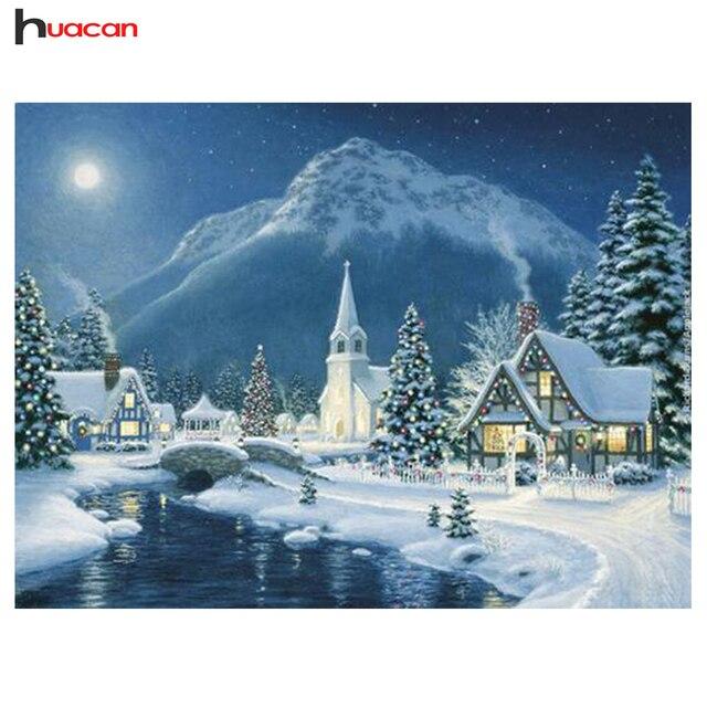 DIY, 5D, Алмазная мозаика, снег, ручной работы, Алмазный живопись, наборы для вышивки крестом, зима, пейзаж, алмазная вышивка, узоры, стразы