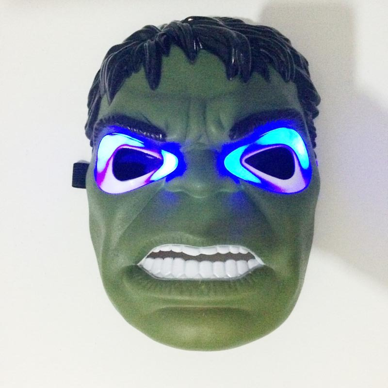 1pcs LED Glowing Superhero Mask for Kid & Adult Avengers Movies Hulk Mask Halloween Masquerade Cosplay Costume Props