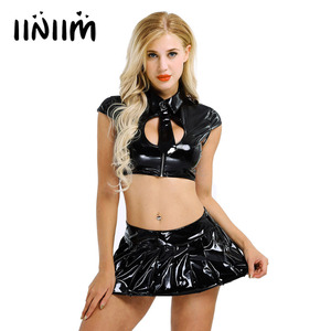 Image 1 - 2Pcs Women Wetlook Patent Leather Lingerie Set for Costume Party Sexy Cap Sleeve Crop Tops with Mini Pleated Skirt and Necktie