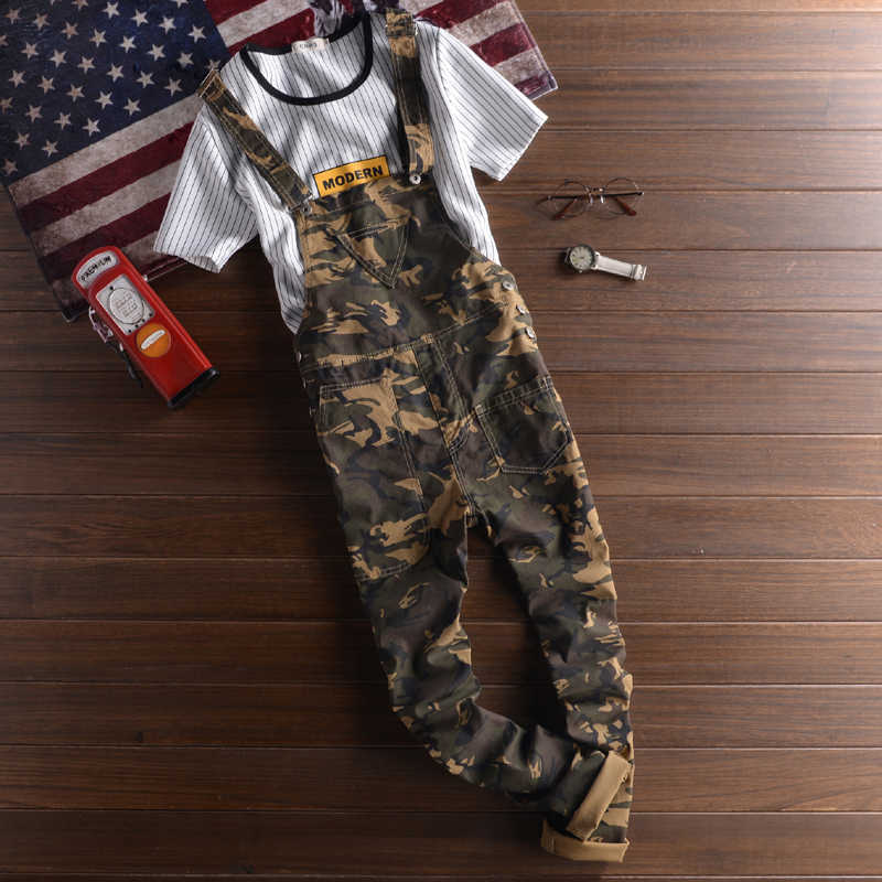 Mens Camouflage Hip Hop Bib Overall Suspender Pants Japan Style Mern Cotton One Piece Jumpsuit Male Camo Cargo Overalls Trousers