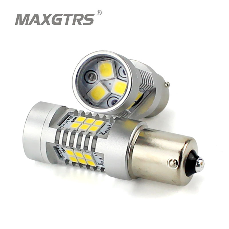 2x MAXGTRS S25 1156 BA15S Car LED P21W 360 Degree 21-SMD 2835 Lights Replacement Bulbs Turn Signal Tail Lamp Amber Light Source