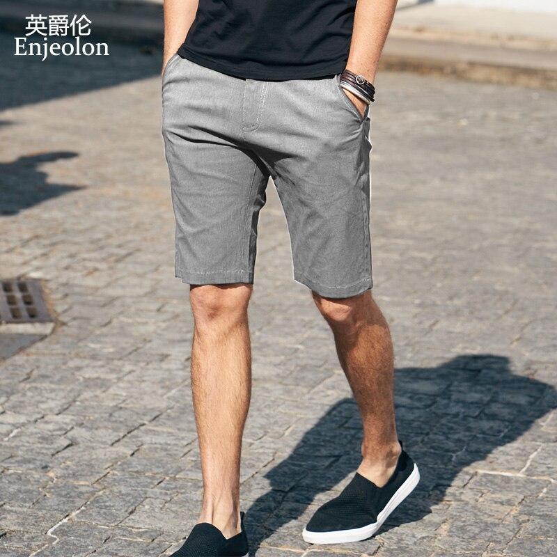 Enjeolon Brand Top 2020 Summer Casual Shorts Men Cotton Sim Solid Base Man Shorts Available Knee Length High Quality K6805