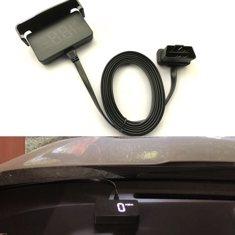 Universal Vehicle Car HUD Head Up Display OBD2 II Overspeed Warning System Car Speedometer Speed Alarm