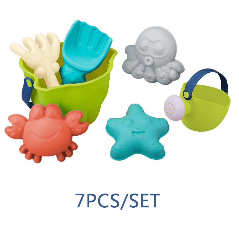 Soft Silicone Beach Sand Box Bucket Spade Shovel Rake Pool Water Table Play Outdoor Fun Beach Summer Toys Water Game Kids Toy