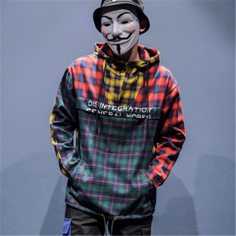 2019 SS Colorful Plaid Patchwork Hoodies Hip Hop Printed Zipper Pocket Long Sleeve Sweatshirts Men's Streetwear Plaid Hoody