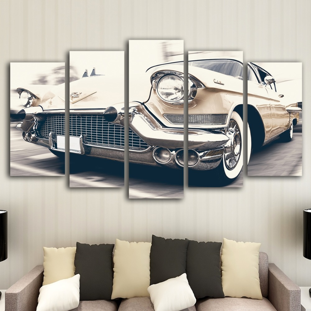 HD printing 5 pieces retro car canvas art painting modern home decoration mural art printing living room decorative painting