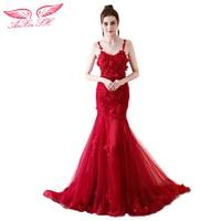 AnXin SH Rose flower red evening dress princess red trumpet flower evening dress party flower red mermaid evening dress